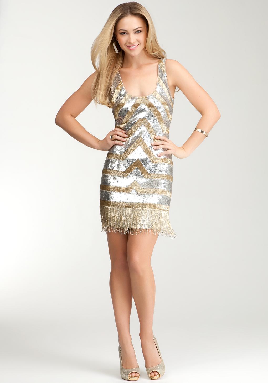 Tank Dress In Gold Silver Metallic