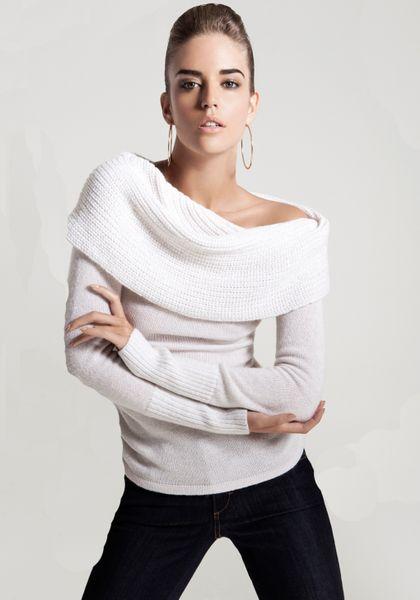 bebe off shoulder metallic sweater in white ivory gold. Black Bedroom Furniture Sets. Home Design Ideas