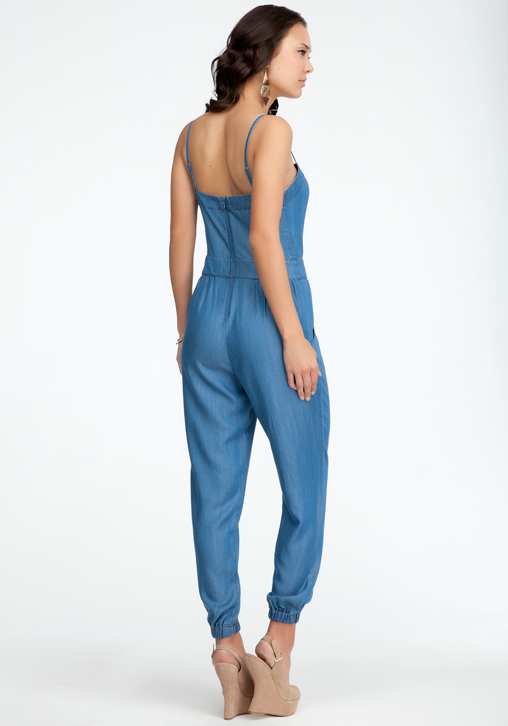 Lyst Bebe Chambray Tie Detail Jumpsuit In Blue