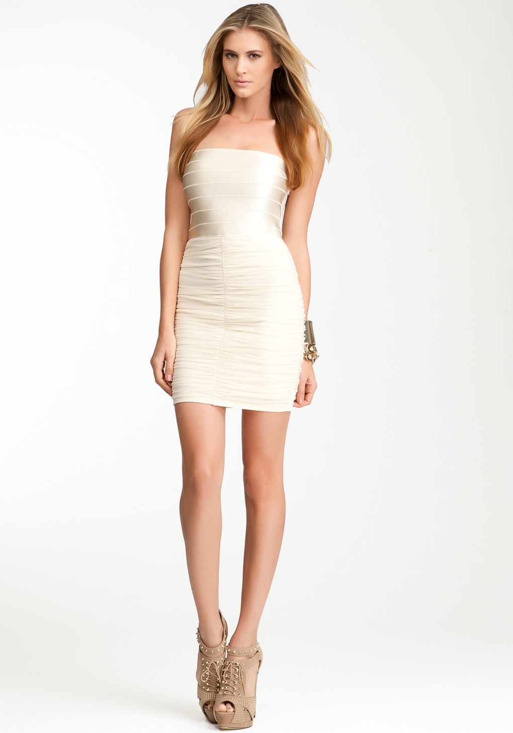 Bebe strapless banded top dress web exclusive in metallic lyst gallery ombrellifo Images