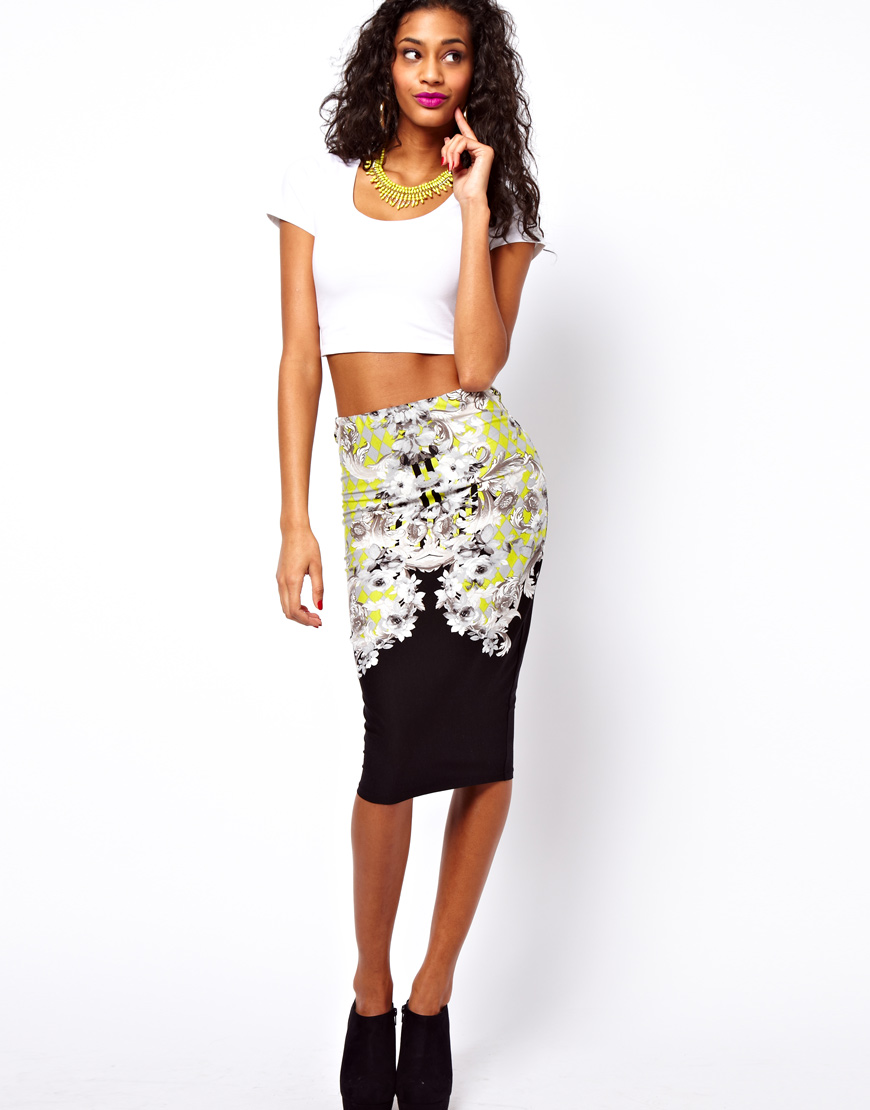 Asos Asos Pencil Skirt in Floral Baroque Print in Black | Lyst