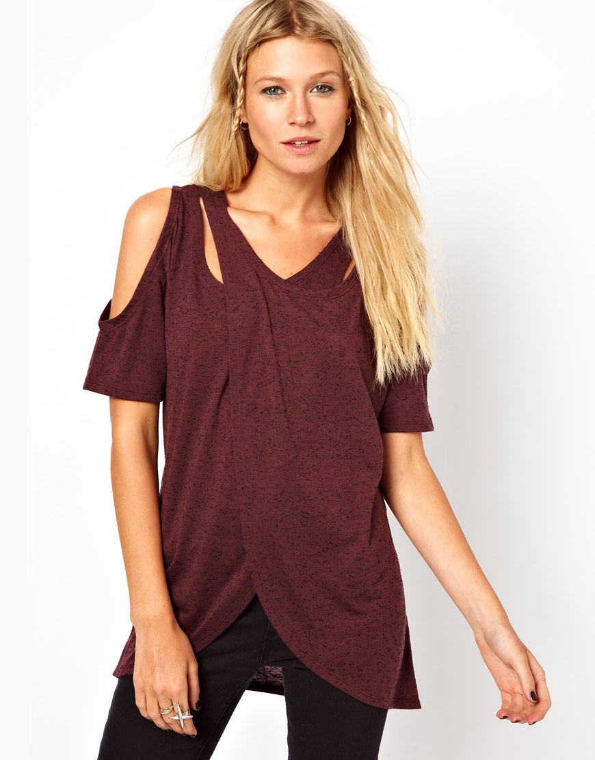 asos collection asos top with cross over cold shoulder in. Black Bedroom Furniture Sets. Home Design Ideas