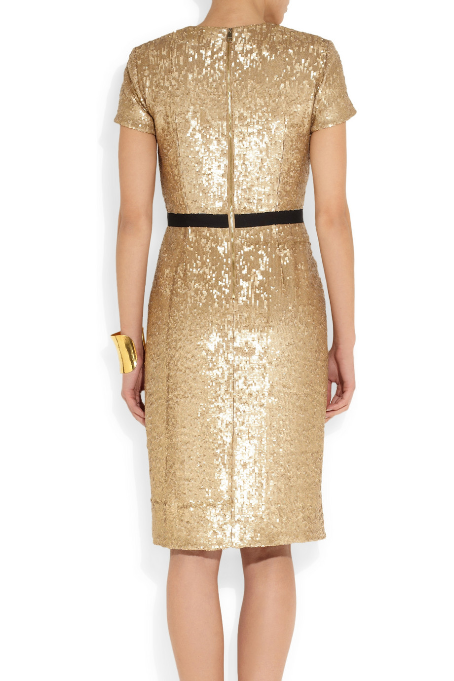 Lyst Burberry Sequined Wrap Effect Dress In Metallic