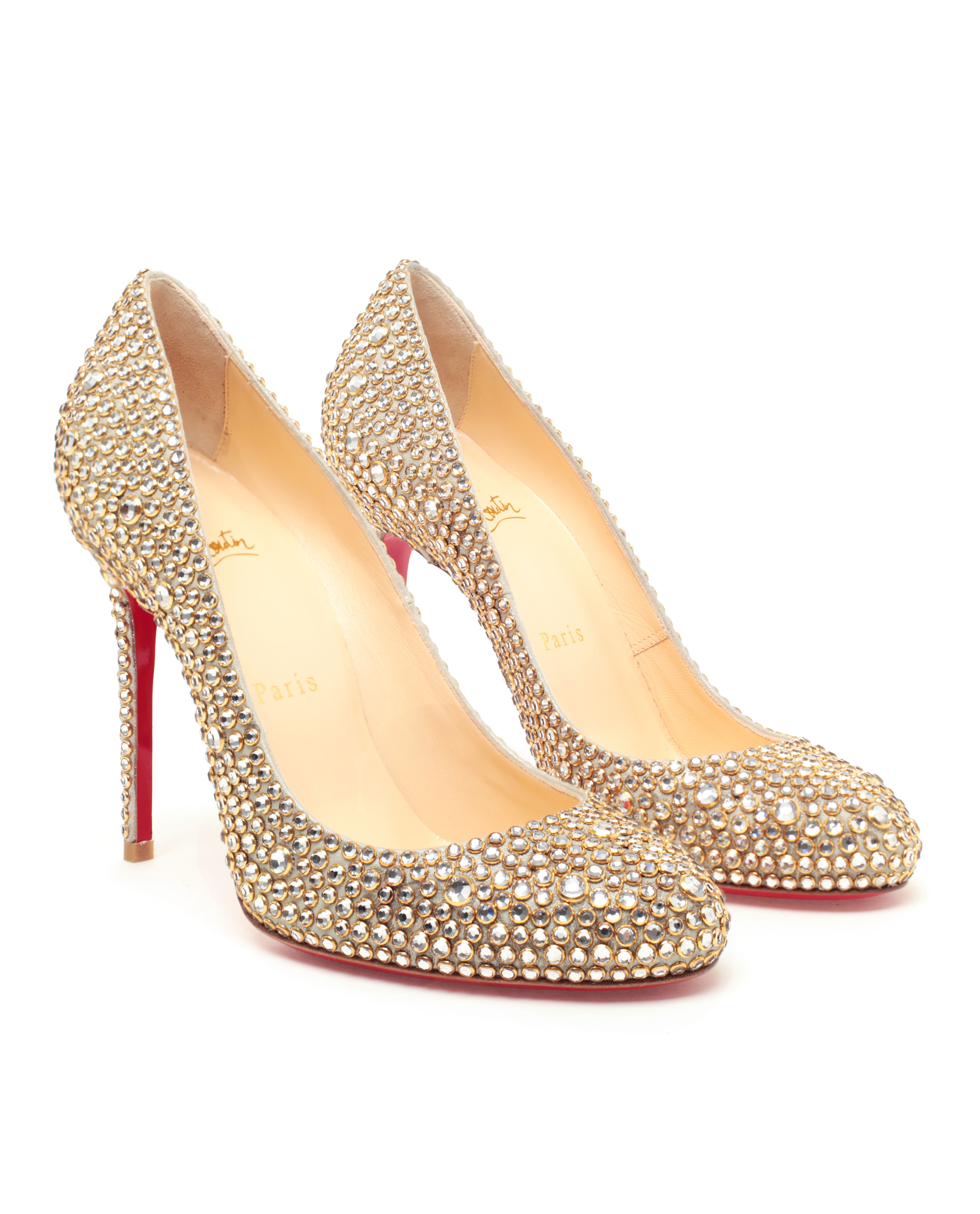 christian louboutin peep-toe platform pumps Yellow suede stud ...