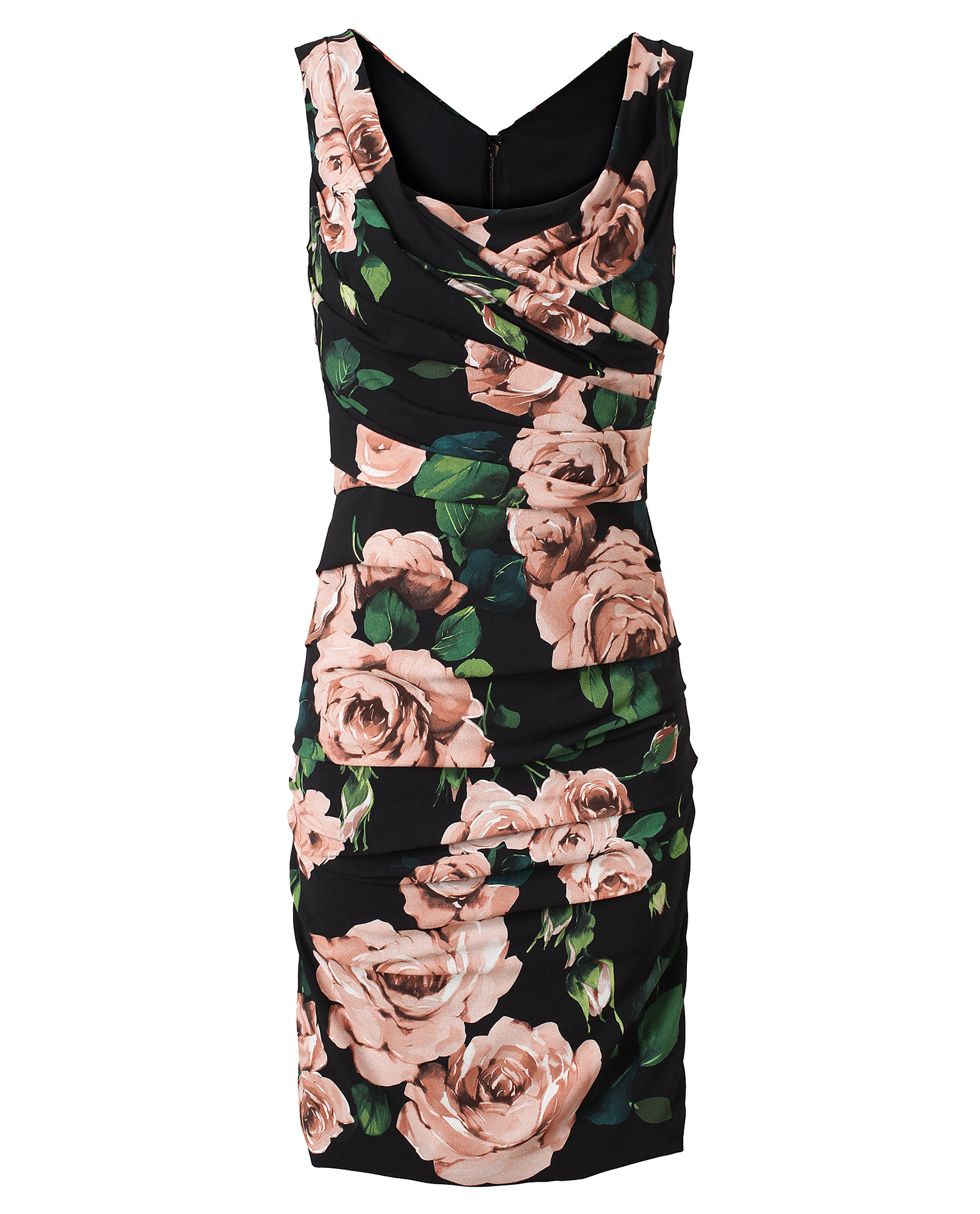 Dolce Amp Gabbana Ruched Floral Print Dress In Black Lyst