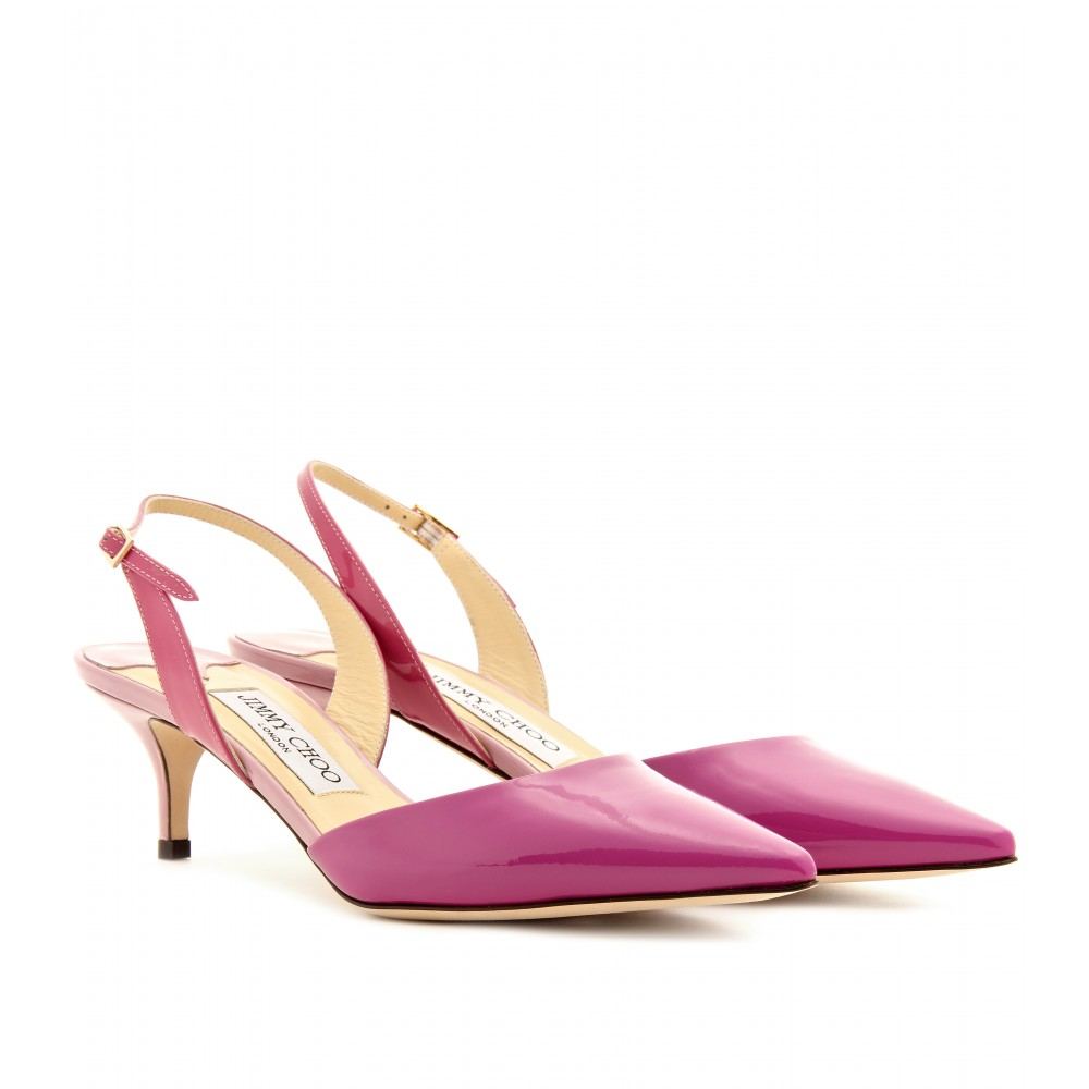 jimmy choo varia patent leather slingback pumps in pink lyst