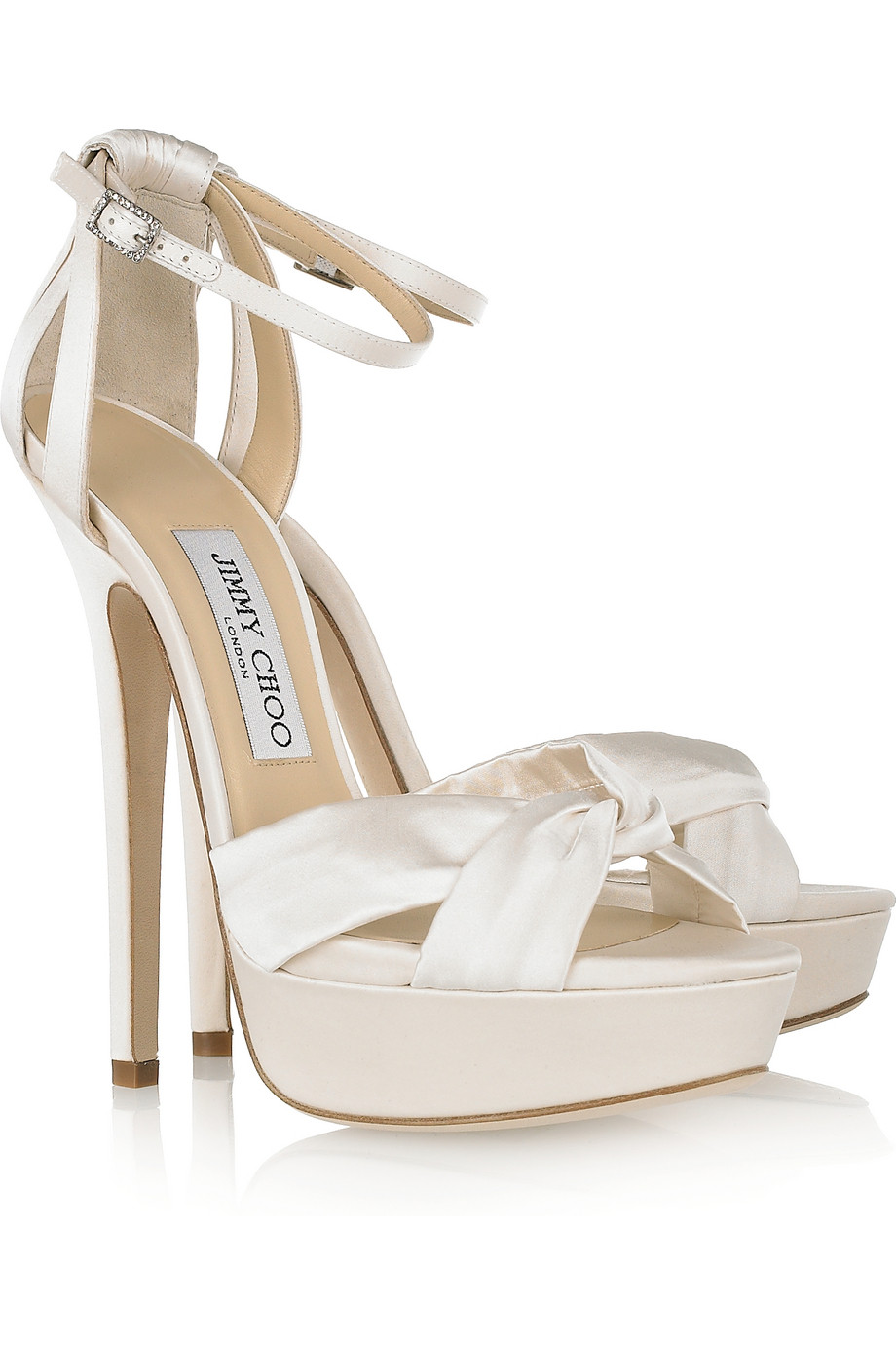 Jimmy Choo Fairy Satin Platform Sandals In Ivory White