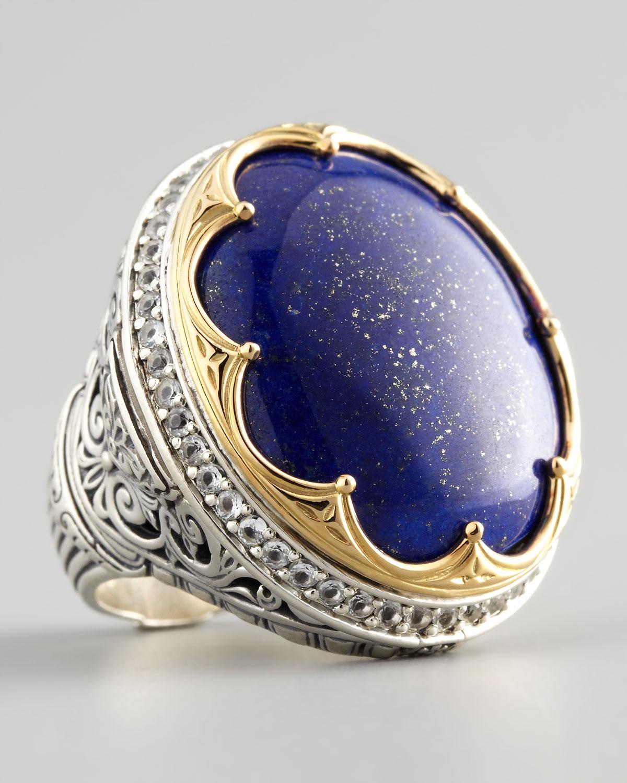 Konstantino Round Topazbezel Lapis Ring In Blue Lyst