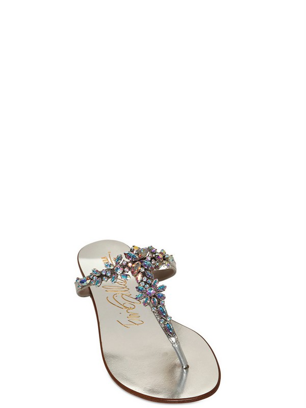 5f13d2a77 Le Silla 10mm Swarovski Flower Leather Sandals in Metallic - Lyst