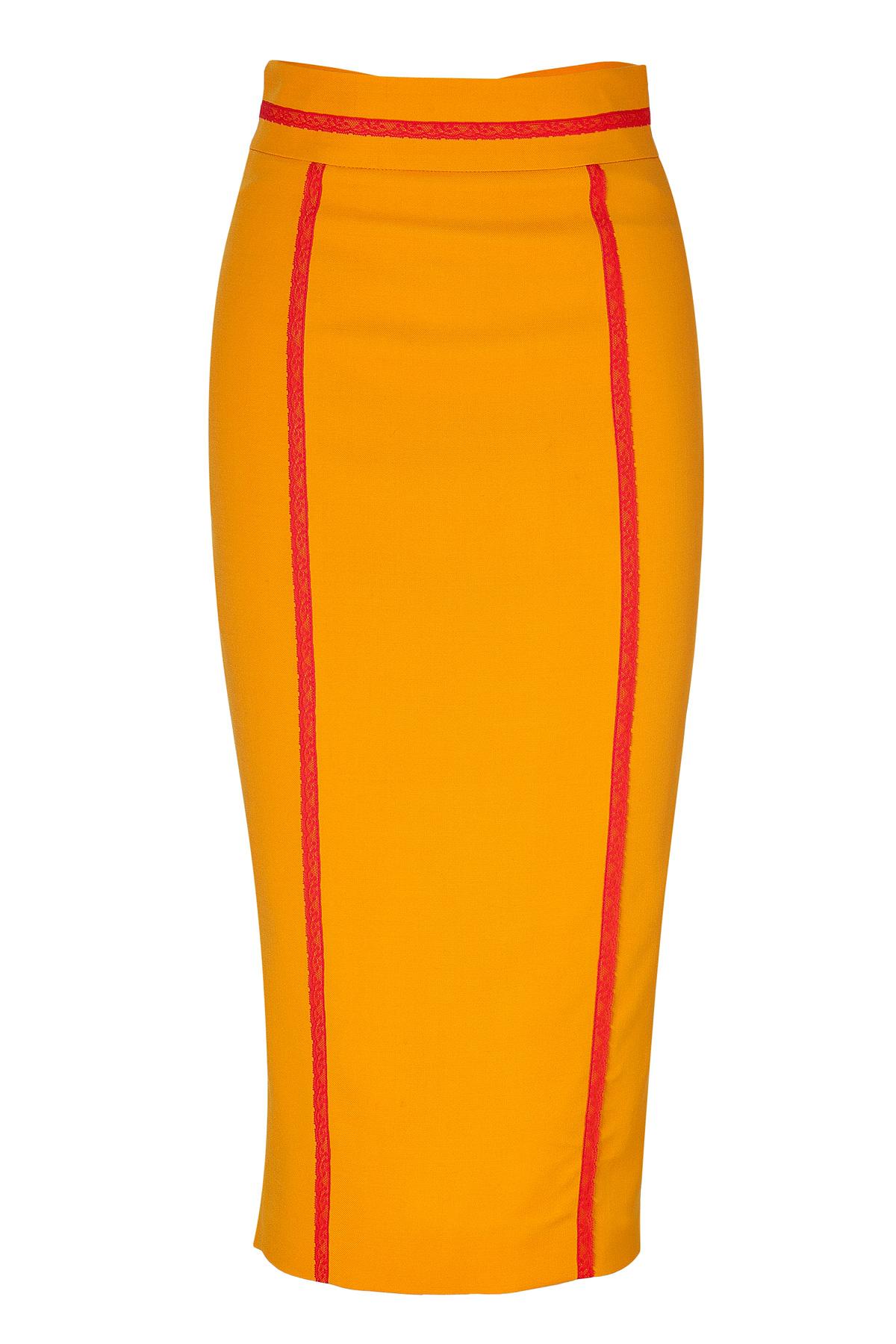 l wren orangemulti high waisted pencil skirt with