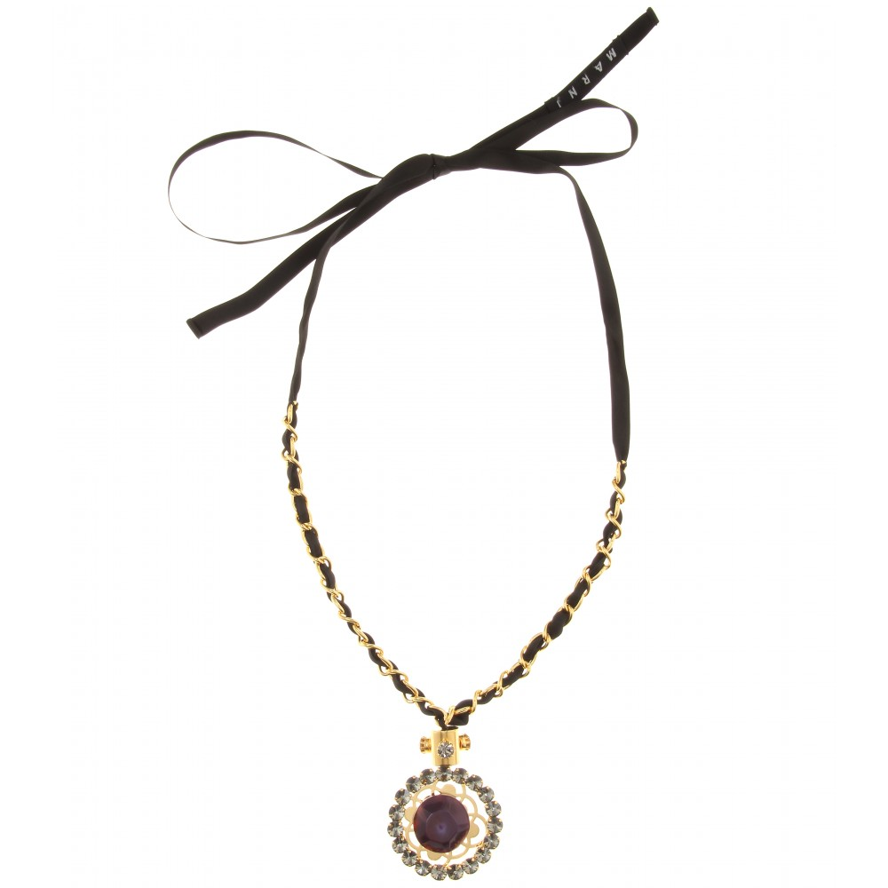 Marni ribbon tie necklace with crystal embellished pendant for Ribbon tie necklace jewelry