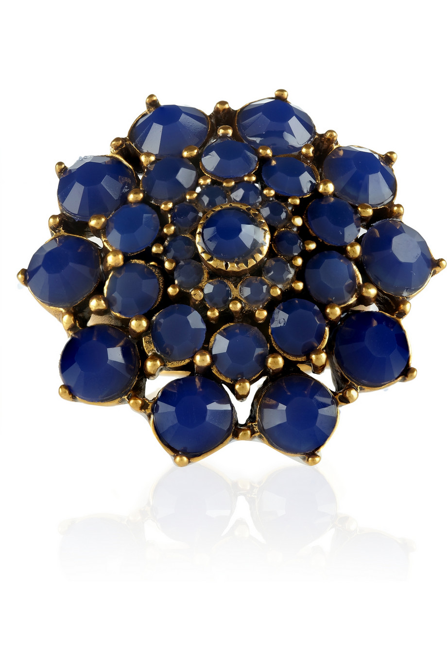 Oscar de la Renta Rose Goldtone Cabochon Ring in Blue (White)