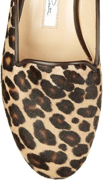 Oscar De La Renta Leopardprint Calf Hair Loafers In Animal