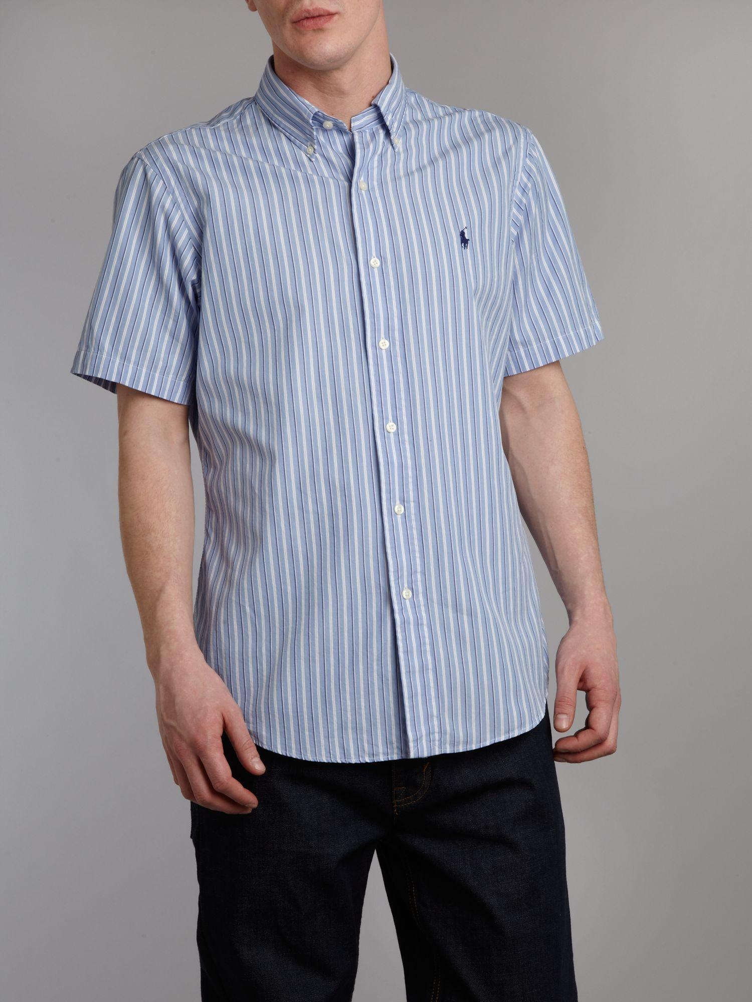 Polo Ralph Lauren Short Sleeved Striped Shirt In Blue For
