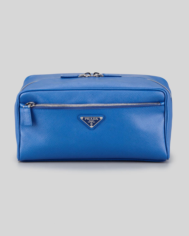 a13ff19513 Lyst - Prada Saffiano Travel Toiletry Bag in Blue for Men