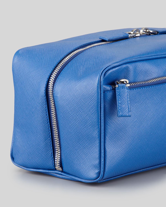 lyst prada saffiano travel toiletry bag in blue for men
