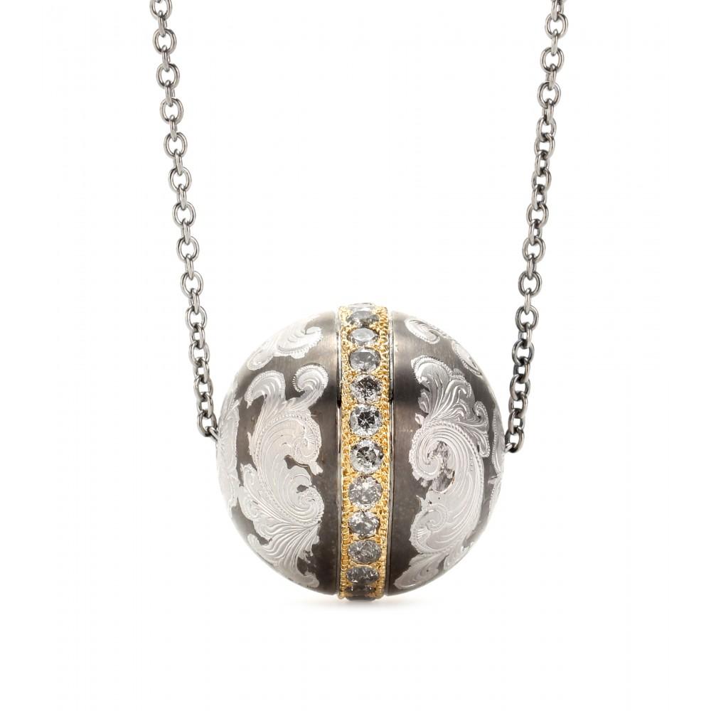 lyst roberto marroni niello engraved silver ball pendant necklace