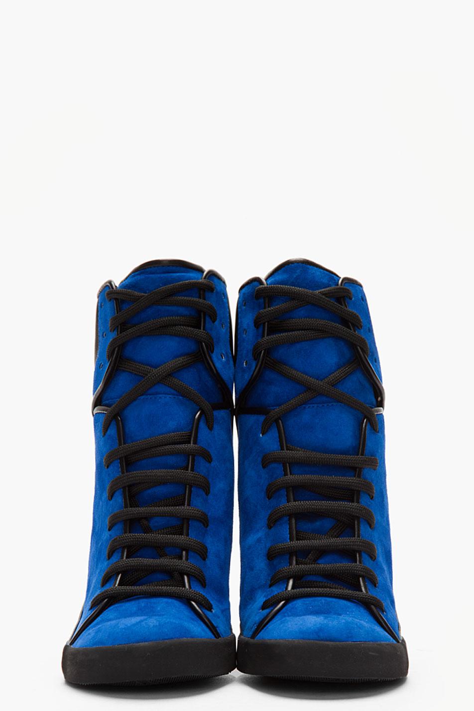 Lyst See By Chlo 233 Suede Sam Sneaker Wedges In Blue
