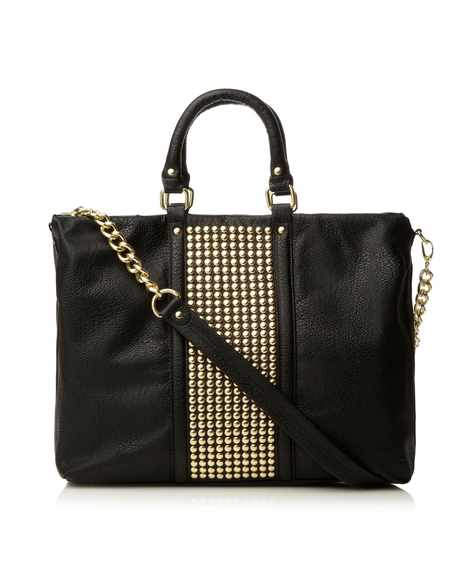 steve madden studded shopper bag in black lyst