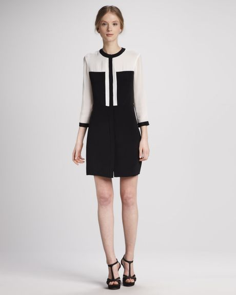 Tibi Colorblock Paneled Silk Dress in Black (white/black multi)