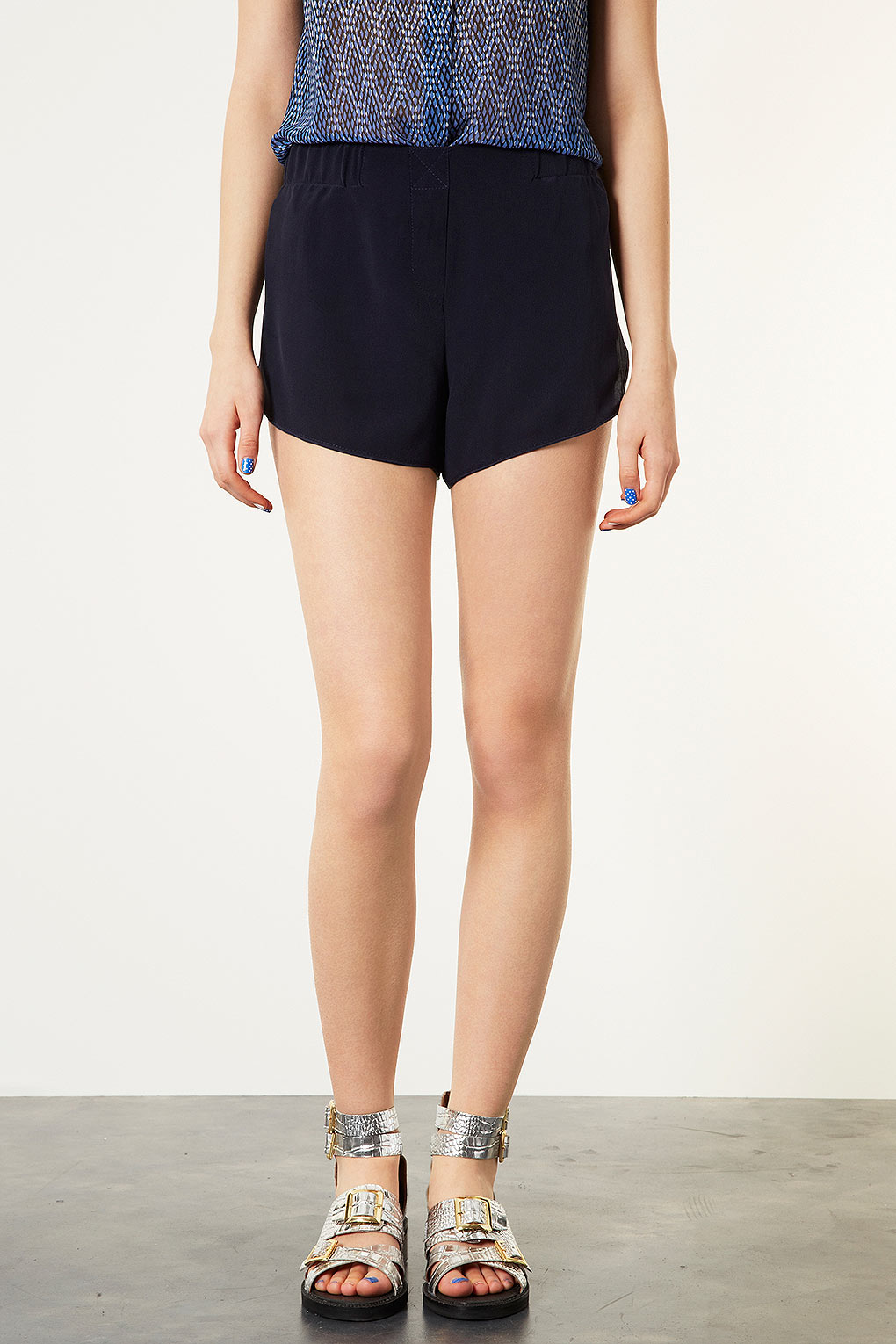 6460e7b880dc Lyst - TOPSHOP Silk Runner Shorts By Boutique in Blue