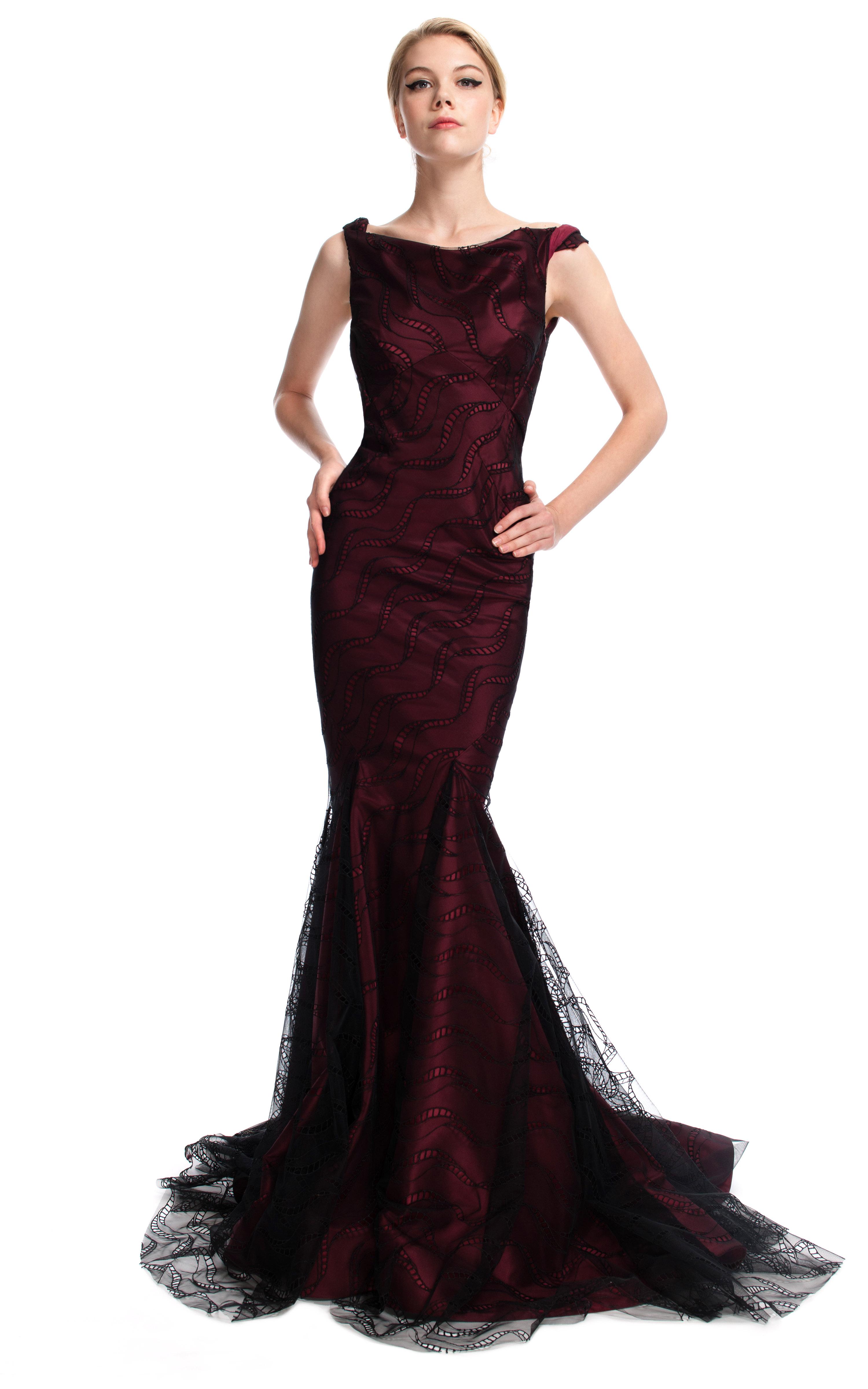 Similiar Burgundy Mermaid Gown Keywords