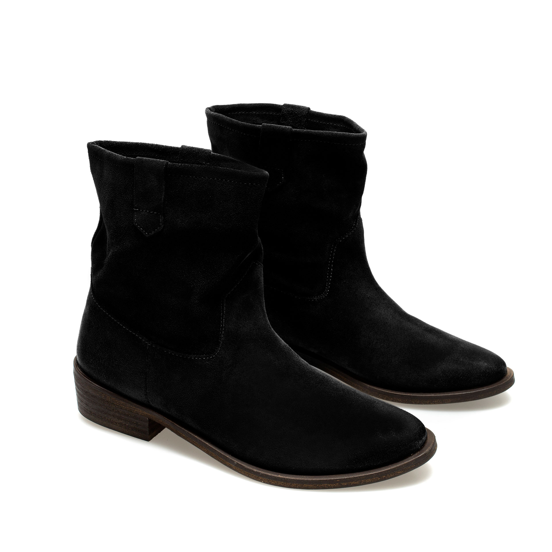 Zara Flat Cowboy Ankle Boot in Black | Lyst