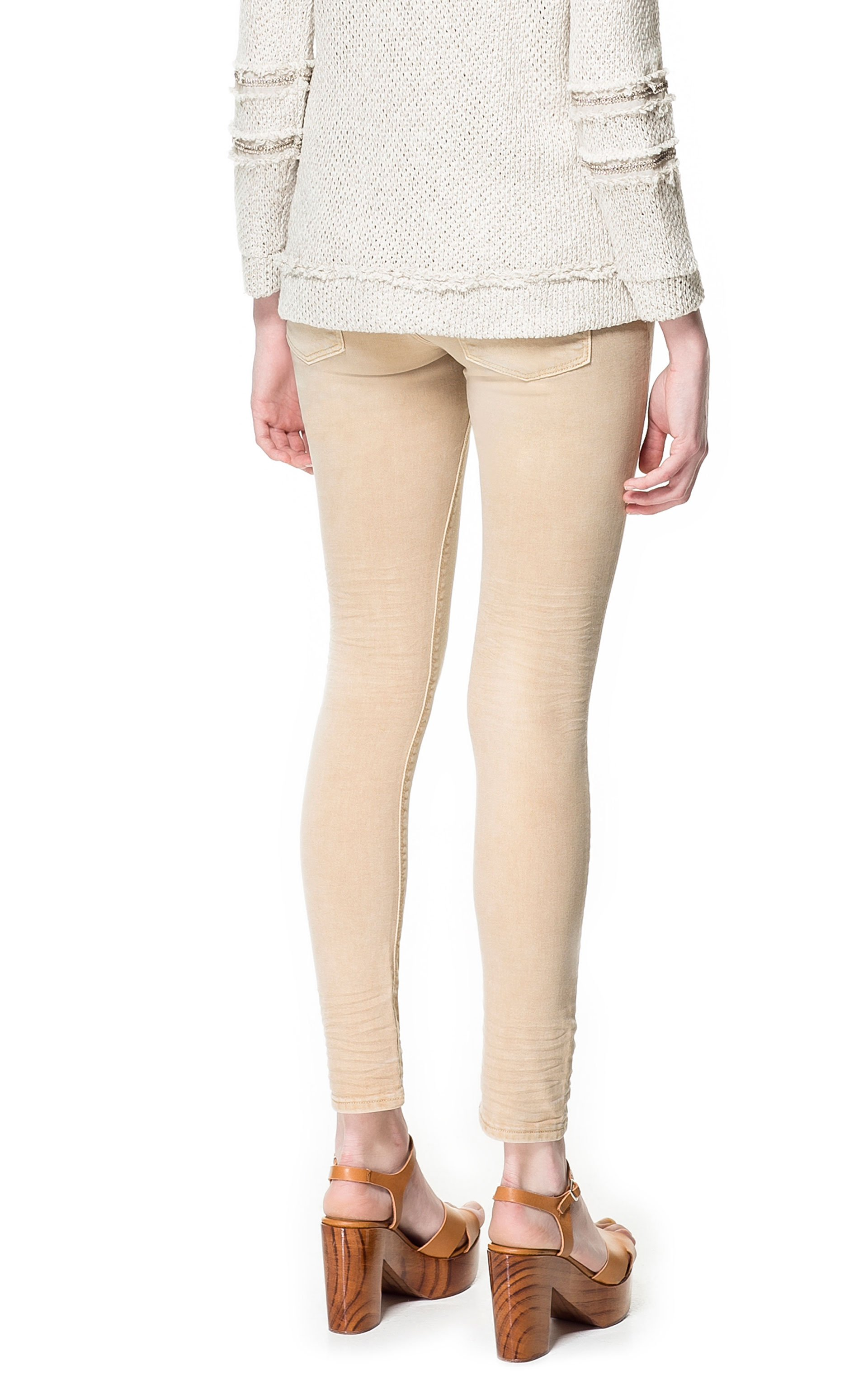 Zara Colored Jeans In Beige (cream) | Lyst