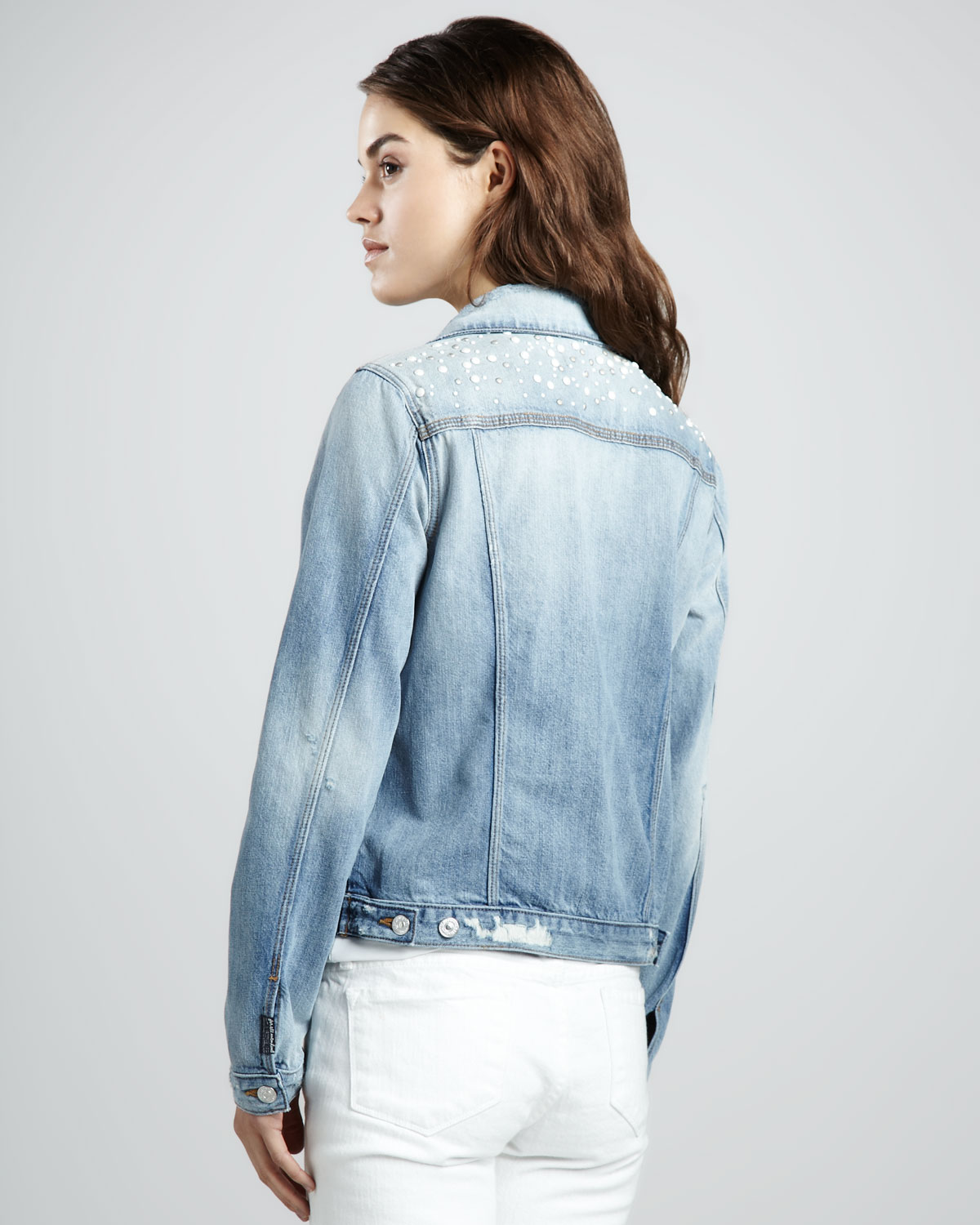 16a35148112 Lyst - 7 For All Mankind Studded Denim Jacket in Blue