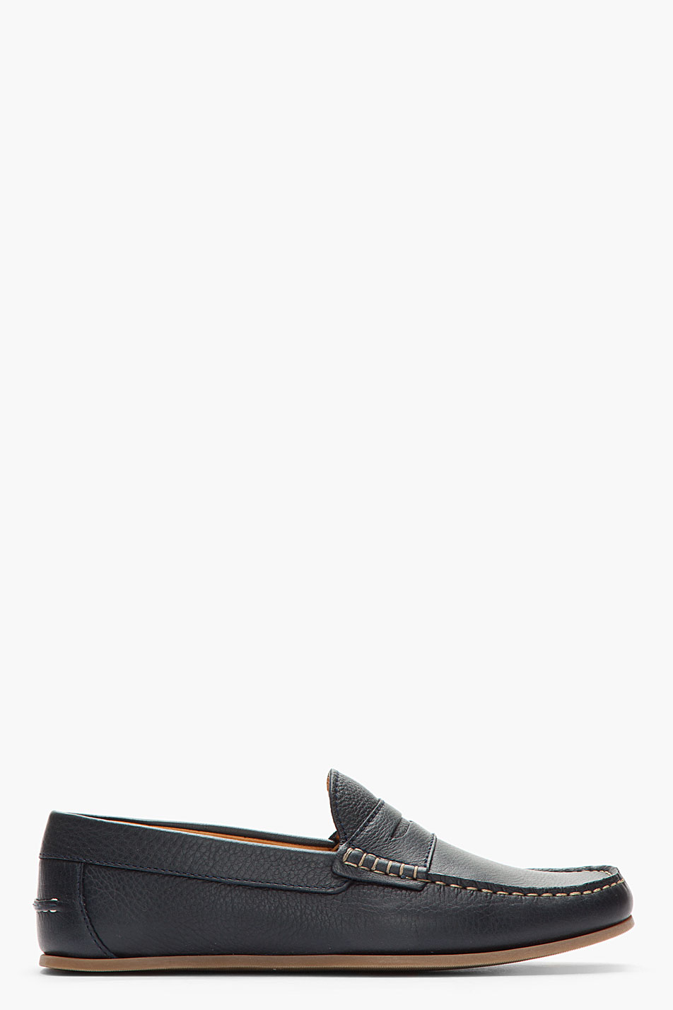 A.P.C. Midnight Blue Leather Penny Loafers for Men - Lyst