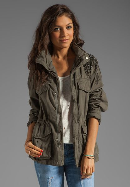 Haute Hippie Military Anorak Jacket in Military in Green (gray) | Lyst
