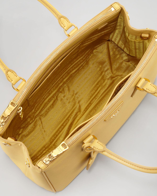 fa1e98be5ba8 ... coupon for lyst prada saffiano small doublezip tote bag in yellow cb3e3  49363