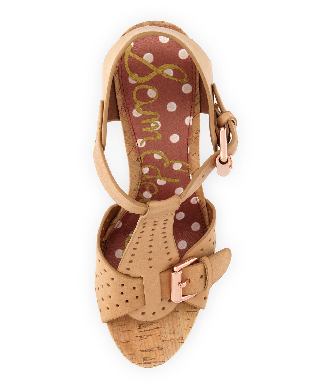 Sam Edelman Karli Perforated Strap Cork Wedge Sandal In