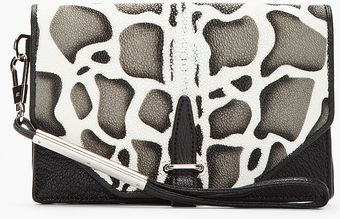 3.1 Phillip Lim Blak and Grey Speckled Leather Envelope Wristlet Clutch - Lyst