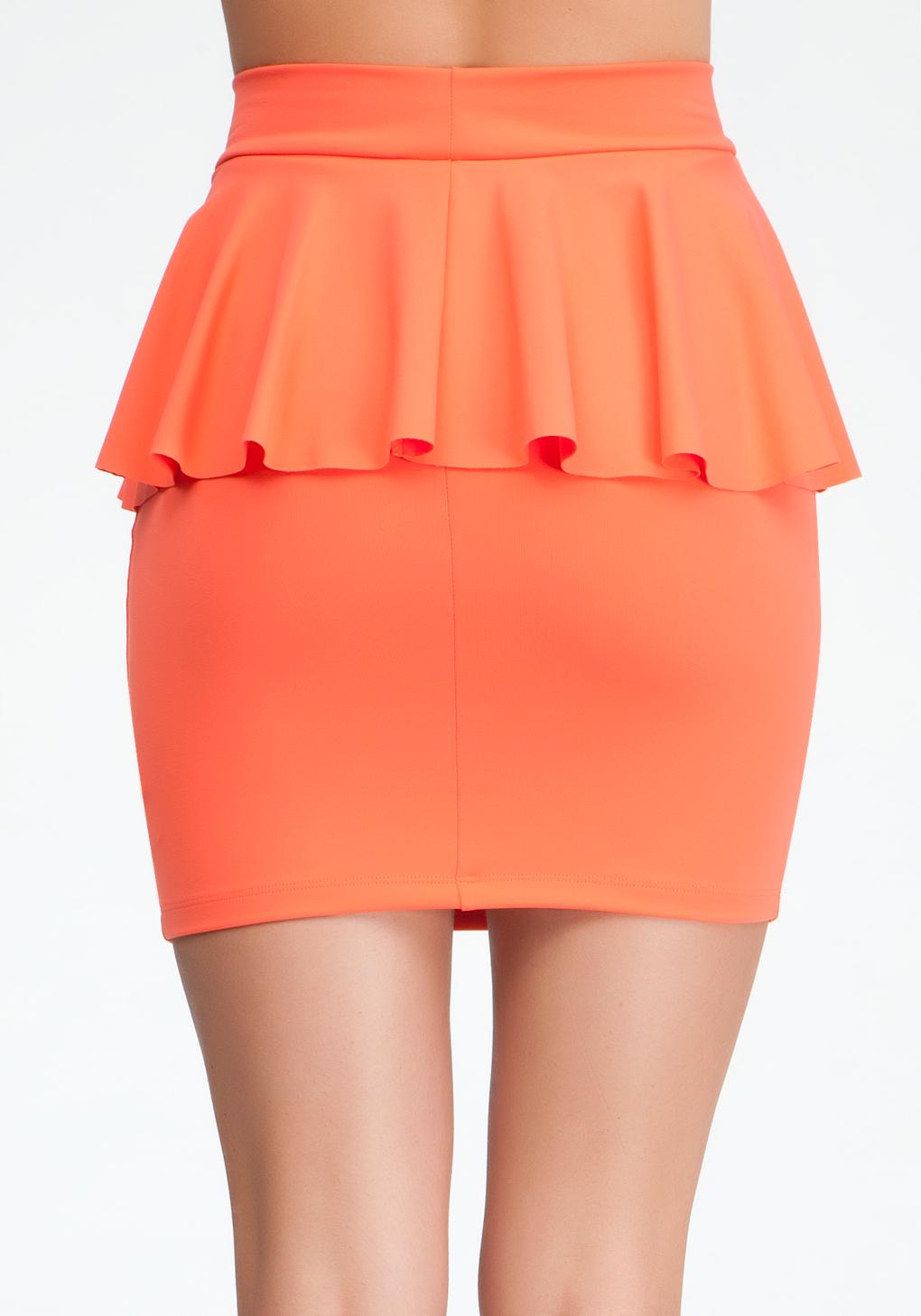 bebe peplum knit pencil skirt in orange lyst