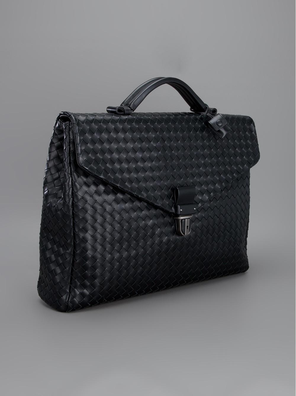 63000a183085 Lyst - Bottega Veneta Intrecciato Weave Briefcase in Black for Men