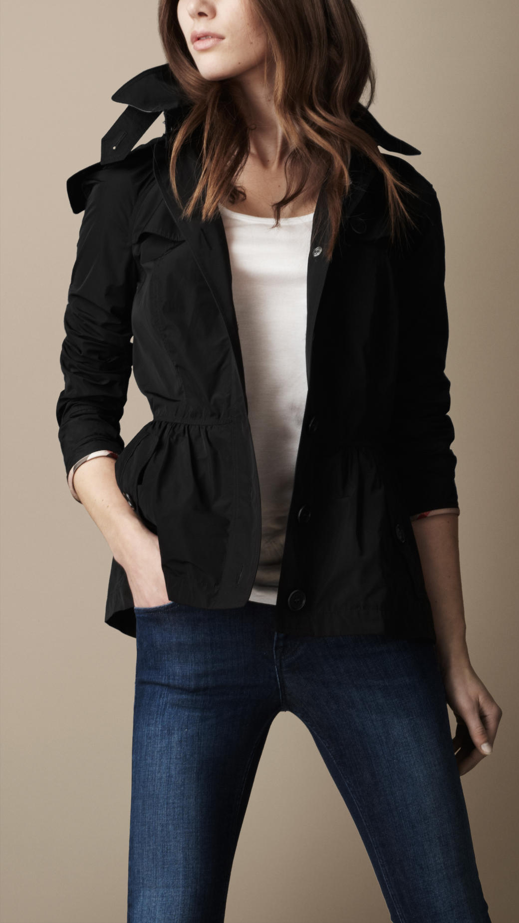 Burberry brit Short Technical Taffeta Peplum Trench Coat in Black ...