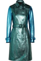 Burberry Prorsum Metallic Texturedleather Trench Coat