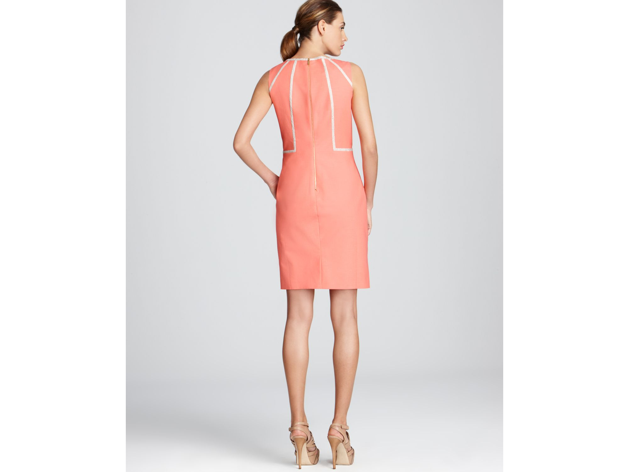 Calvin Klein Piped Sheath Dress In Pink Lyst