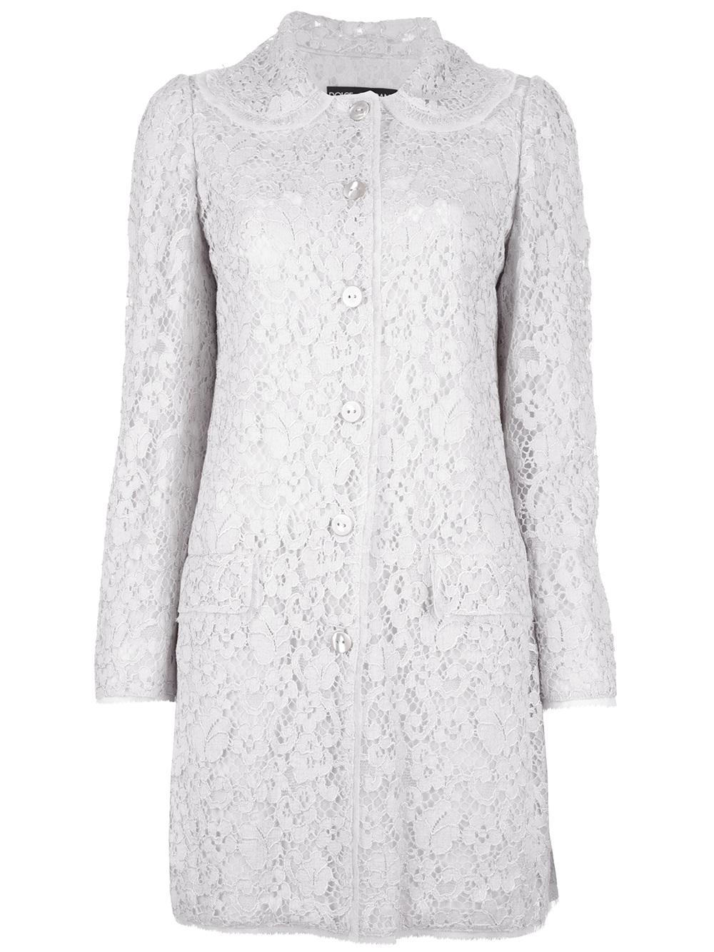 Dolce Amp Gabbana Lace Dress Coat In White Lyst