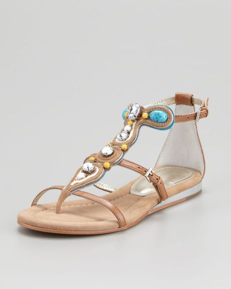 Donald J Pliner Bryce Jeweled Tstrap Sandal Sand In Gold
