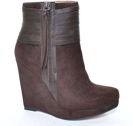ella moss eliza suede leather wedge ankle boots in brown