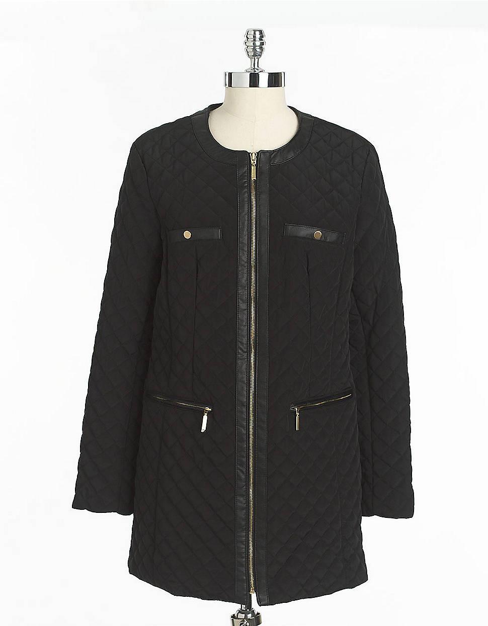 Jones New York Collarless Quilted Walker Coat In Black Lyst