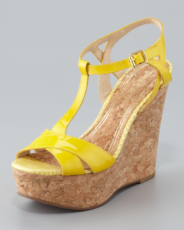 Juicy couture Dakota Cork Wedge Sandal in Yellow   Lyst