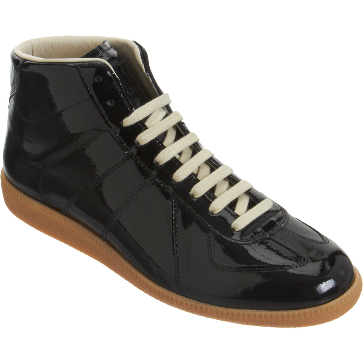 maison martin margiela patent high top sneaker in black for men lyst. Black Bedroom Furniture Sets. Home Design Ideas