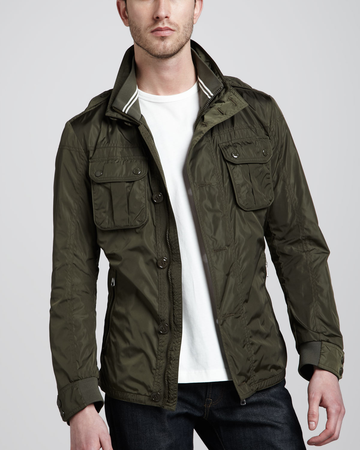 moncler military field jacket in green for men lyst