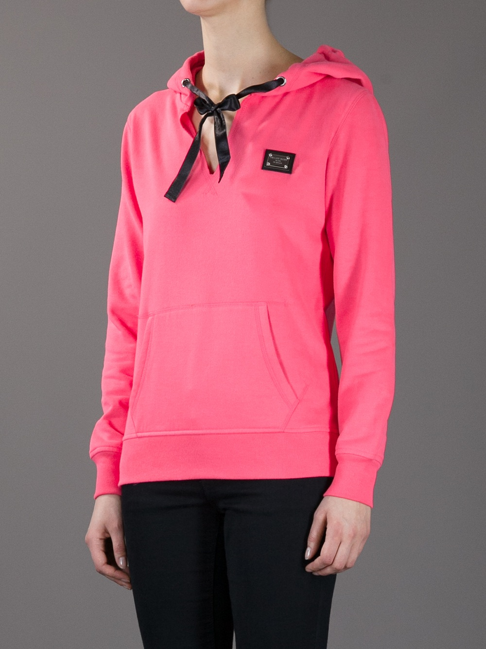 Philipp Plein Skull Embellished Hooded Sweatshirt in Pink