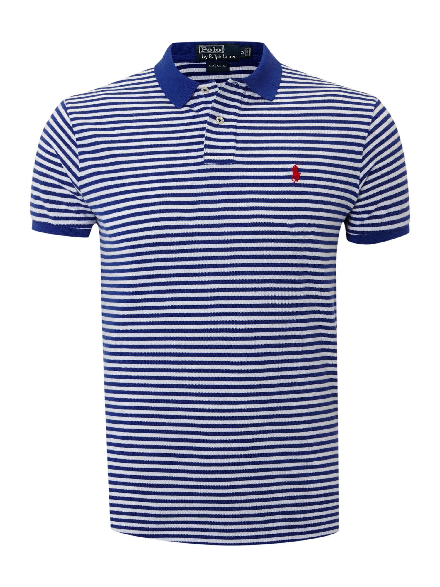 Polo ralph lauren three big pony slim fitted polo shirt in for White fitted polo shirts