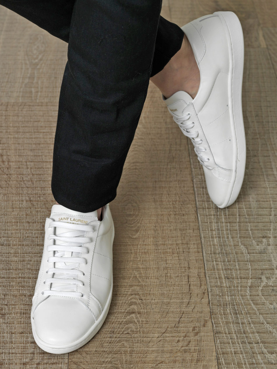 saint laurent leather lace up trainers in white for men lyst. Black Bedroom Furniture Sets. Home Design Ideas