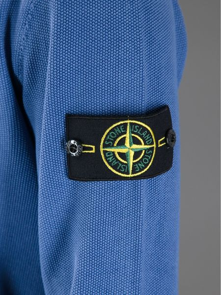 Stone Island Brand Patch Sweater in Blue for Men - Lyst